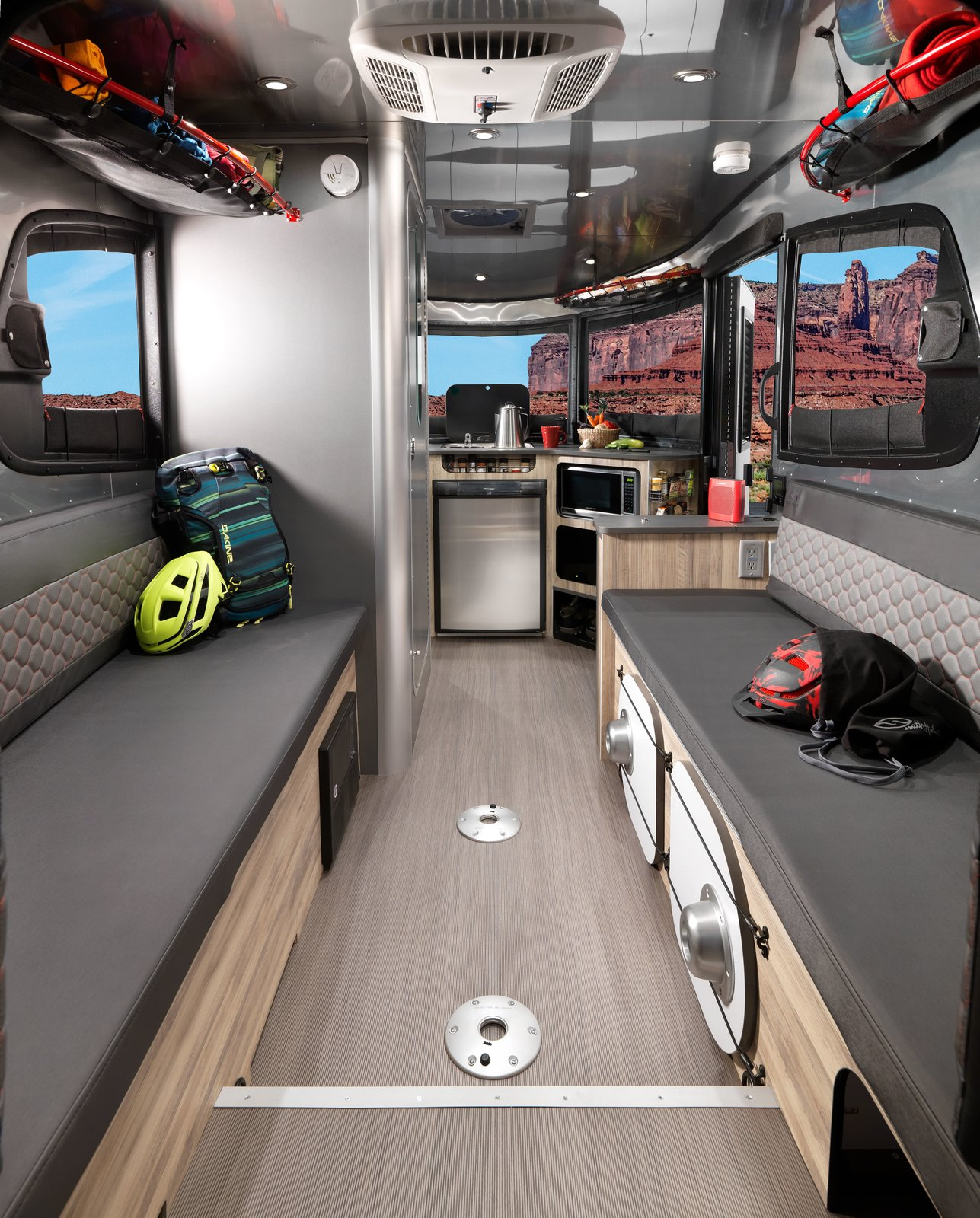 Living Room, Light Hardwood Floor, Recessed Lighting, and Bench basecamp airstream adventure trailer interior  Photo 2 of 14 in Airstream's Basecamp Is a Lightweight Trailer Stuffed With Smart Travel Solutions
