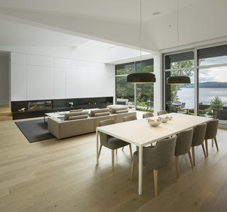 The living and dining area have ceilings that reach as high as 25-feet in sections.