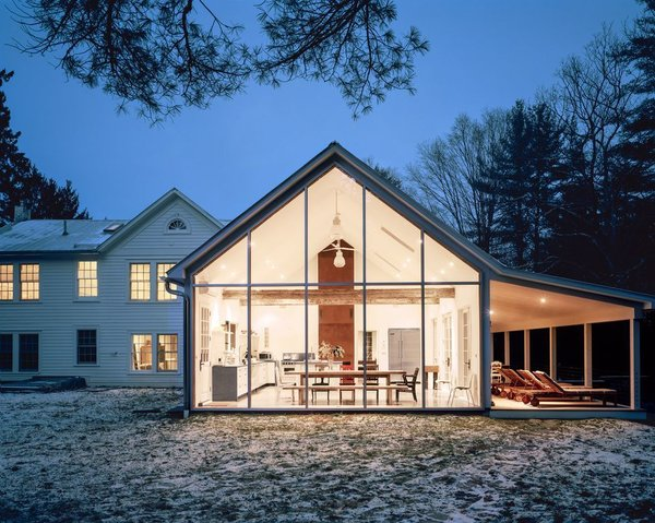 """Floating Farmhouse"" in Eldred New York is a modern five-room holiday rental home with a touch of old world charm."