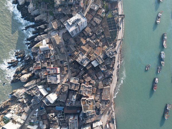 Aerial view ofHuangqi Peninsula in China's Fujian Province.