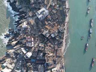 An aerial view of Huangqi Peninsula in China's Fujian Province reveals the dense built environment.
