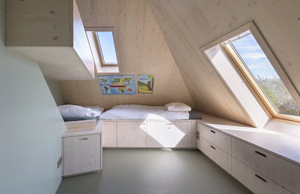 Bunk beds and built-in storage in the attic.