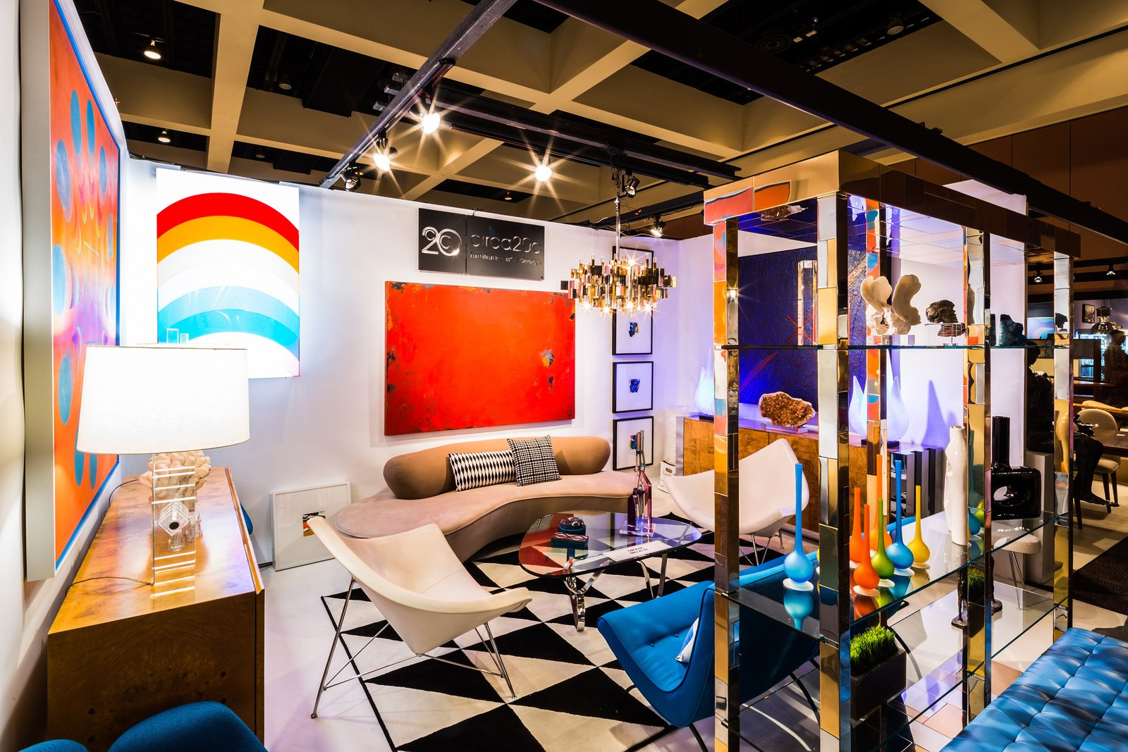 Living, Pendant, Track, Rug, Lamps, Table, Shelves, Sofa, and Chair The Annual Palm Springs Modernism Show & Sale  Best Living Track Shelves Photos from 10 Things You Shouldn't Miss at Modernism Week in Palm Springs