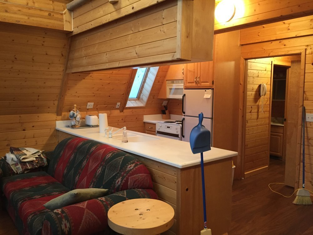 The kitchen before the renovation.  Photo 3 of 14 in Before & After: An A-Frame Cabin Boasts Serious Scandinavian Vibes