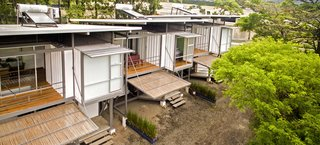 Three environmentally friendly container homes.