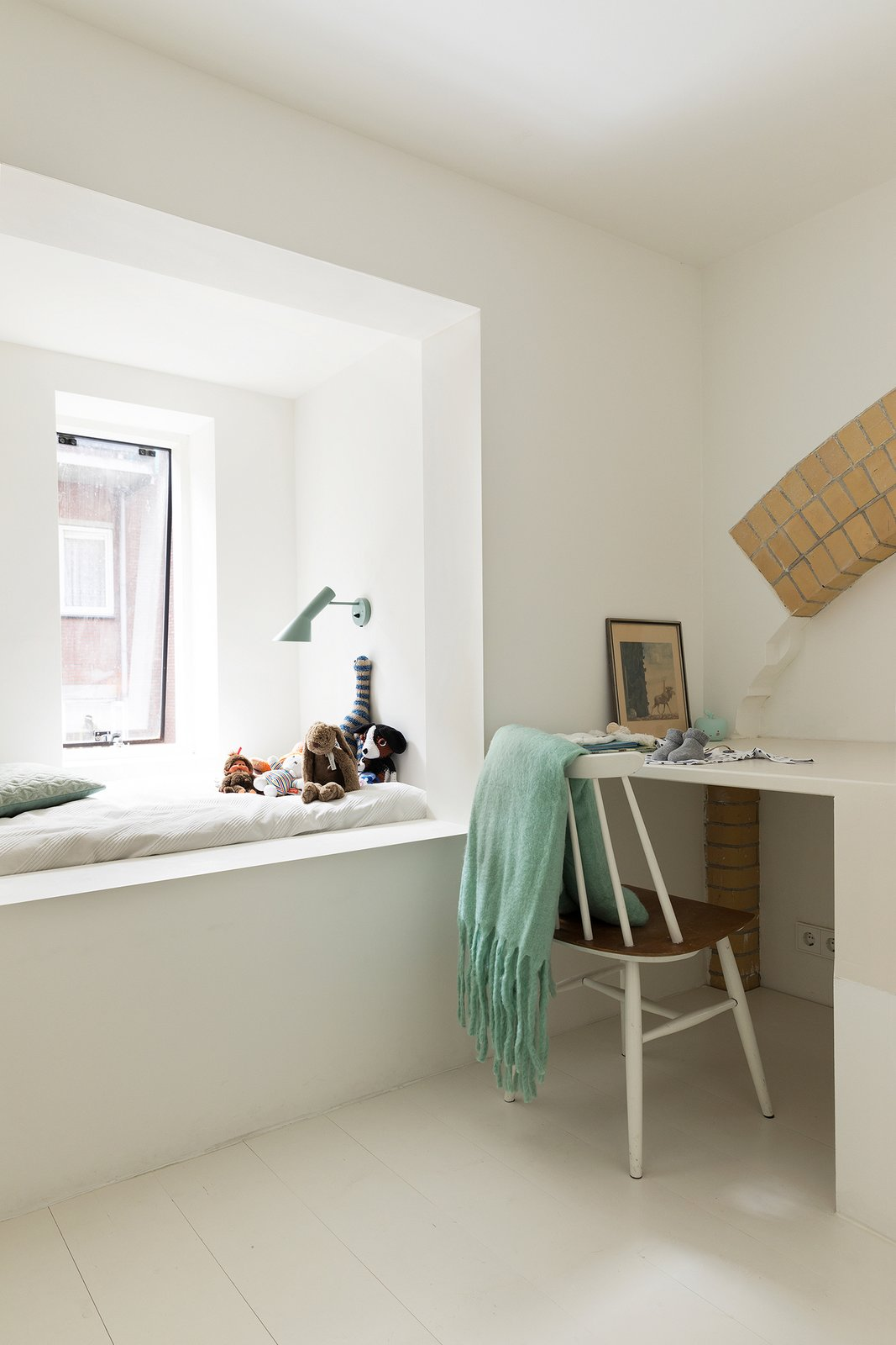 Kids, Chair, Painted Wood, Bed, Lamps, Bedroom, and Neutral A child's bedroom.  Kids Painted Wood Bed Neutral Photos from A 20th-Century Dutch Schoolhouse Now Holds a Series of Airy Lofts