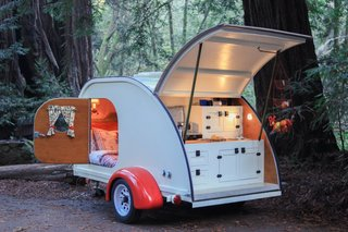 A teardrop trailer from teardrop trailer rental company Camp Weathered.