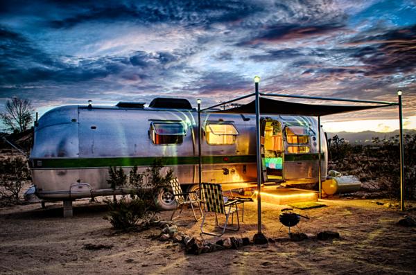 A trailer at El Cosmico in Marfa, Texas.