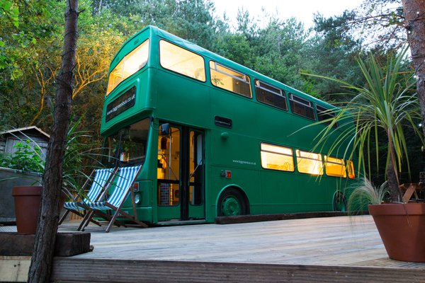 This Double-Decker Bus Offers an Eclectic Glamping Experience