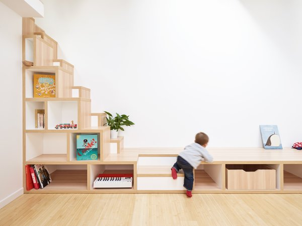 """Japanese """"tansu"""" stairs with storage compartments underneath."""