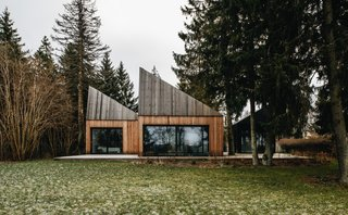 The larch wood cladding helps the cabins blend in with their forest site.