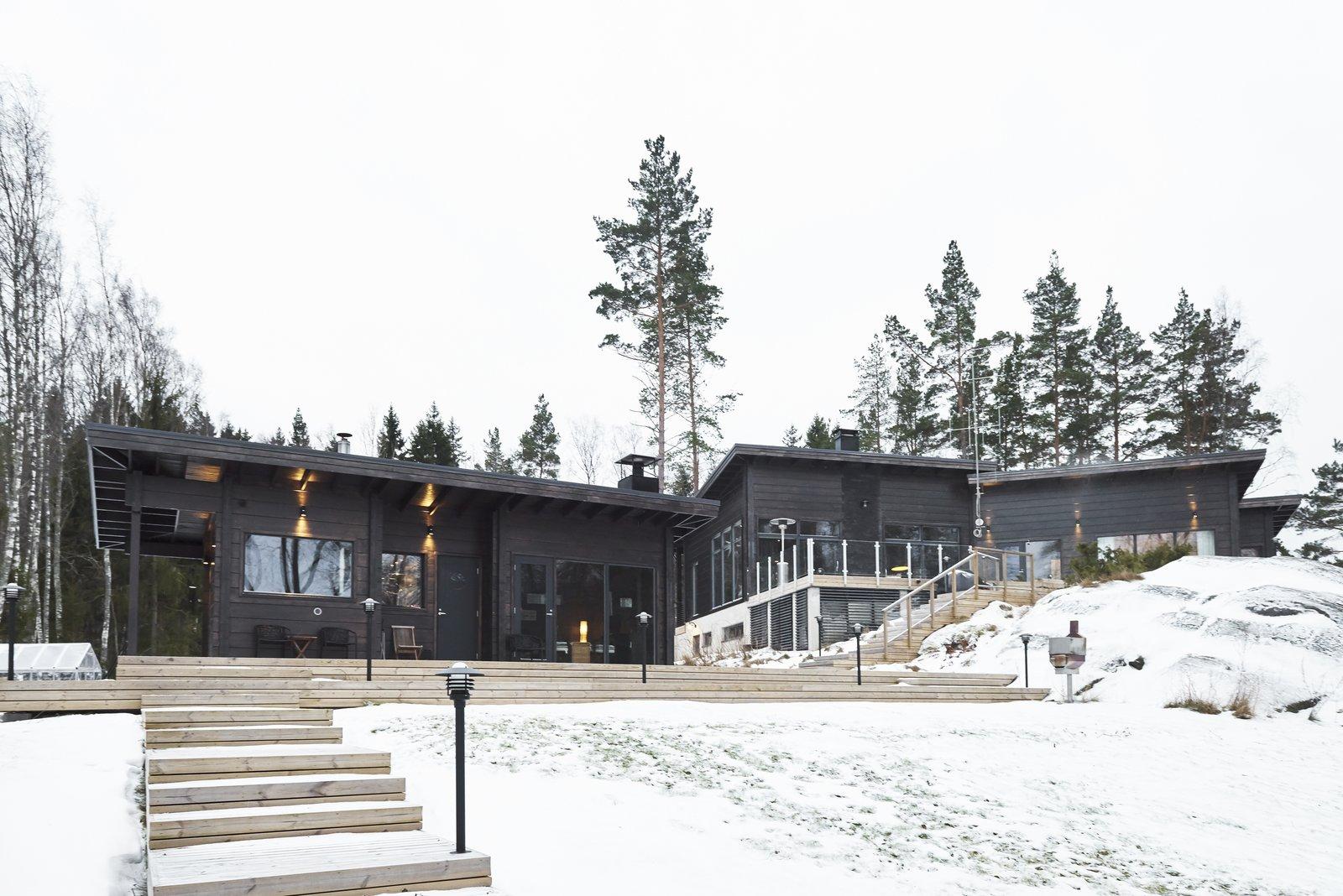 Solsidan log cabin kit home exterior.