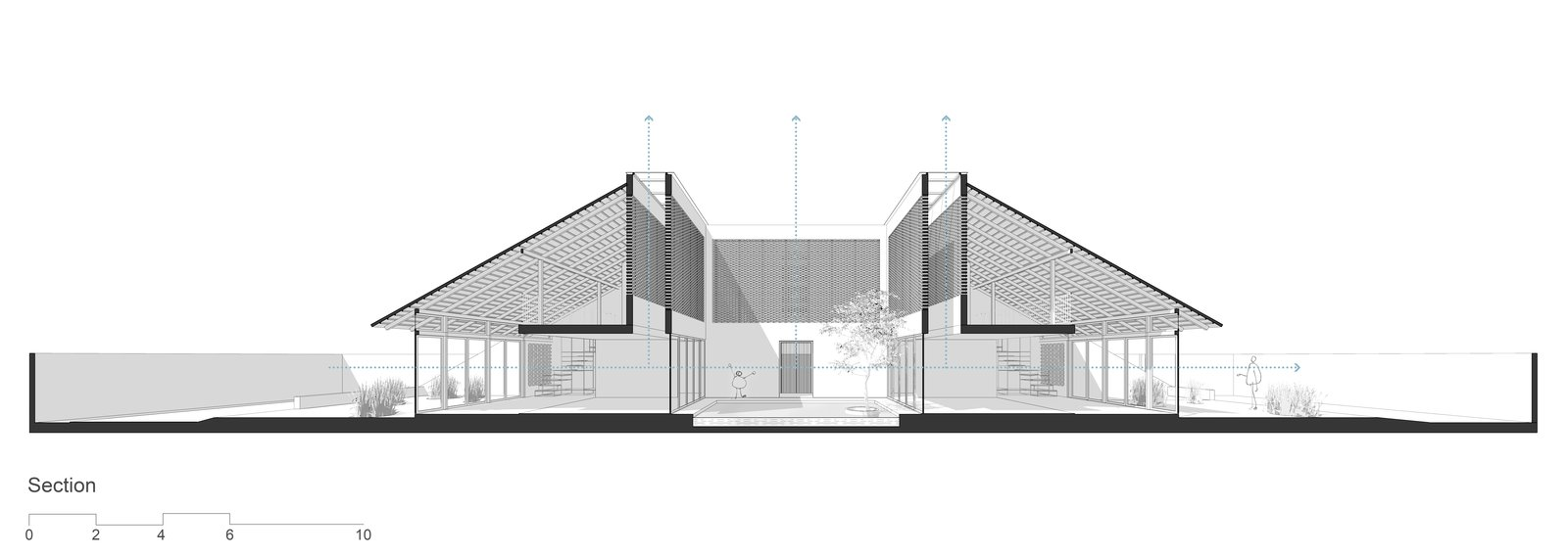 Cross sectional drawing.  Photo 15 of 15 in Light and Shadow Help Shape This Modern Brick House in Vietnam
