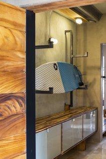 Storage racks for surf boards.