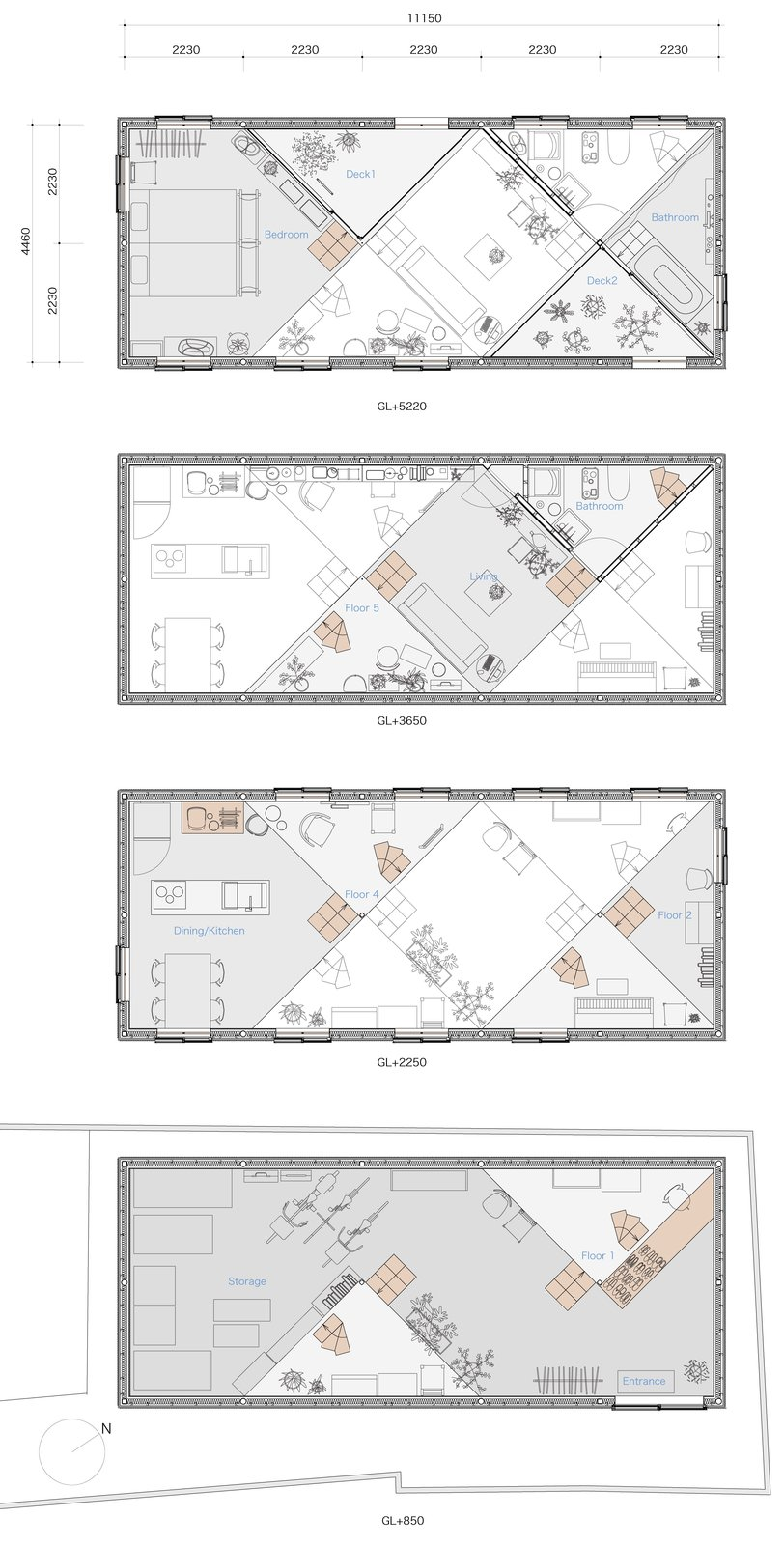 Floor plan drawings.  Photo 14 of 14 in 13 Spiraling Platforms Increase Space and Connection in This One-Room Home