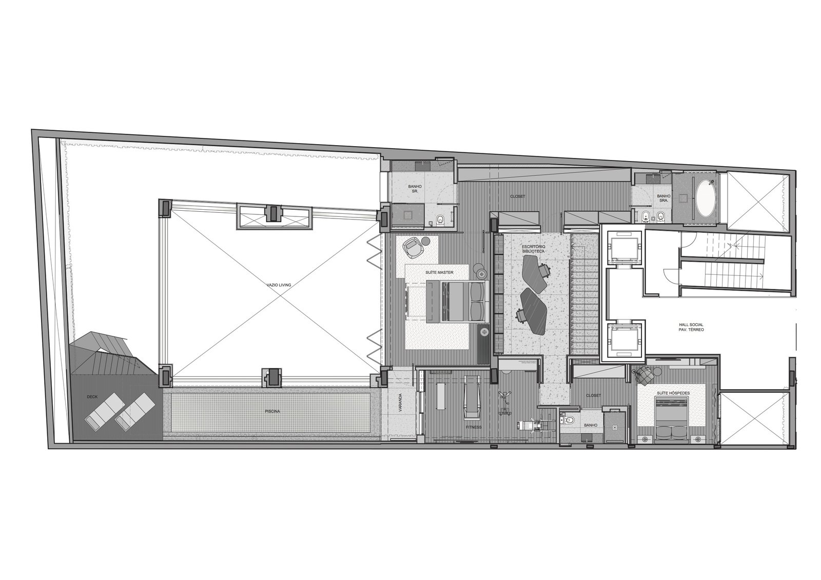 Upper level floor plan.  Photo 17 of 17 in A Mesmerizing Pool Dominates This Brazilian Home