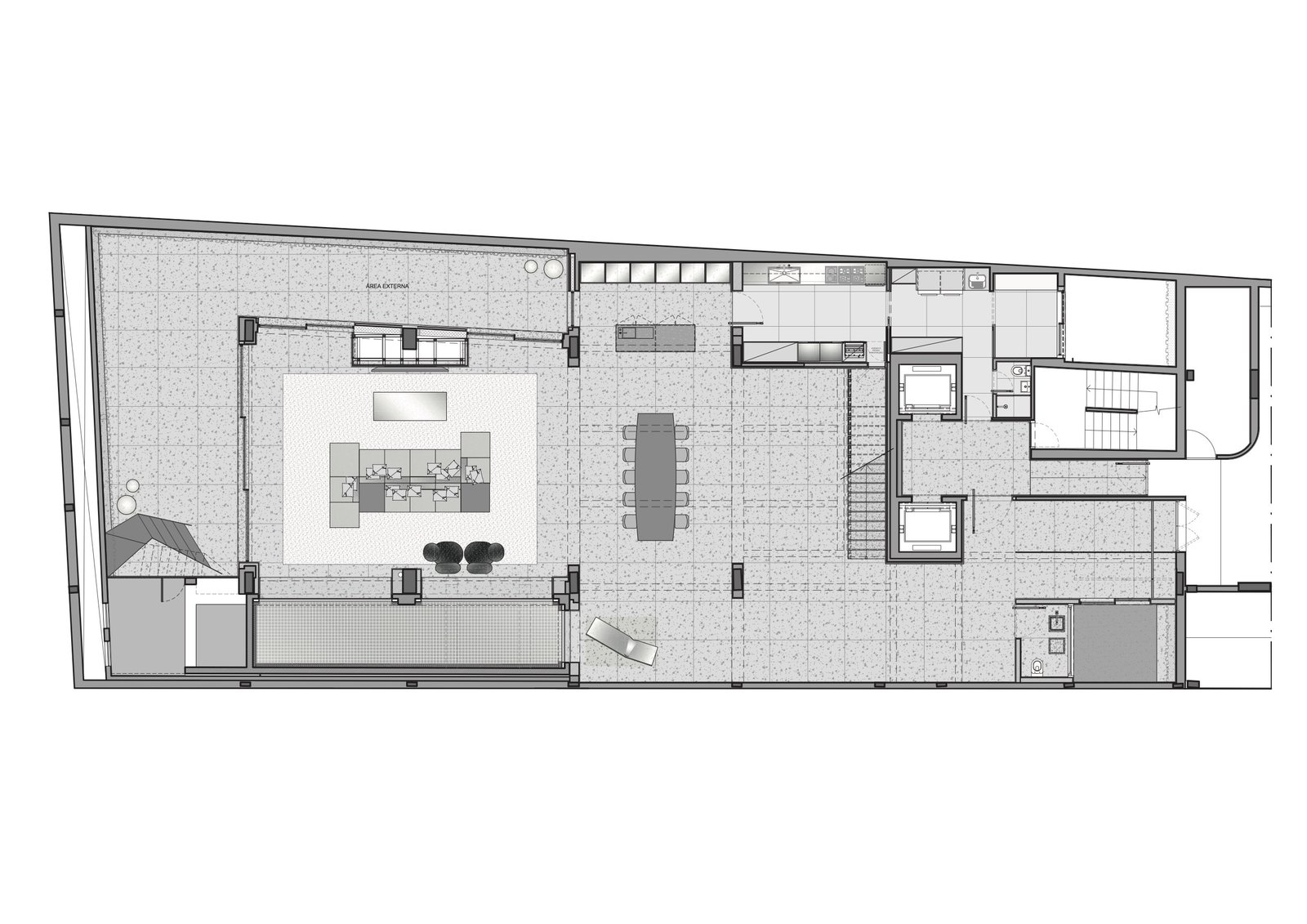 Lower level floor plan.  Photo 16 of 17 in A Mesmerizing Pool Dominates This Brazilian Home