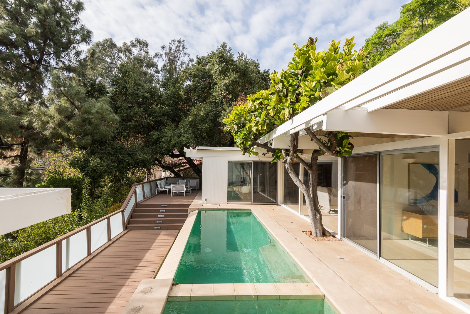 Outdoor, Large Pools, Tubs, Shower, Large Patio, Porch, Deck, Trees, Plunge Pools, Tubs, Shower, Lap Pools, Tubs, Shower, Side Yard, and Walkways A pool and outdoor lounge area that's shaded by trees.  Best Photos from Composer Paul Buckmaster's Midcentury Gem Asks $1.39M