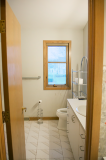 A look at the bathroom entrance before the renovation.
