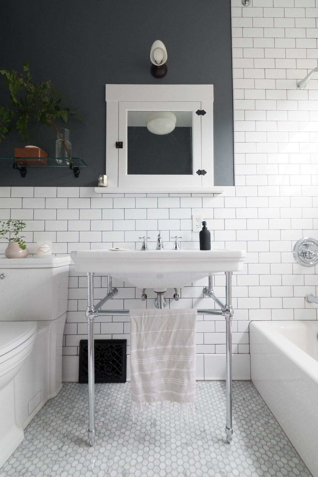Bath, Wall Mount, Two Piece, Soaking, Subway Tile, and Wall The bathroom was completely gutted down to the crawlspace and up into the attic.  Best Bath Two Piece Wall Mount Photos from Before & After: A DIY Couple Tackle Their 1915 Craftsman in San Diego