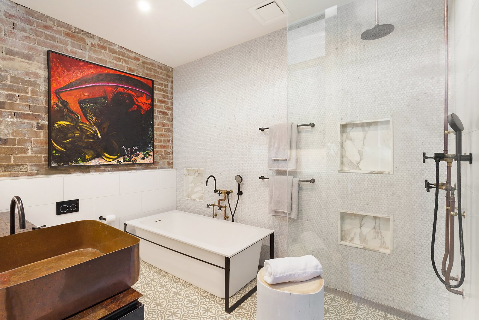 Bath, Open, Ceiling, Freestanding, Wood, Vessel, and Mosaic Tile Copper, timber and marble accents add a luxurious touch to the bathrooms.  Best Bath Mosaic Tile Ceiling Photos from The Glowing Converted Warehouse of Painter Fred Cress Is Open For Bids