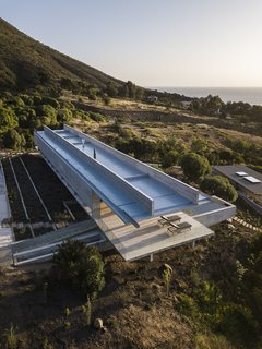 An aerial view of the clean-lined, futuristic home.