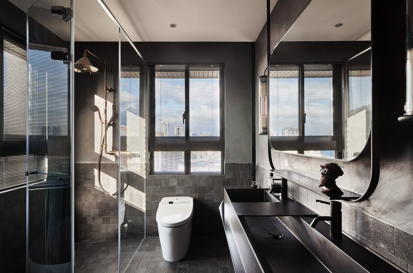 Bath, Enclosed, Slate, One Piece, Stone Tile, Recessed, Vessel, and Concrete Gray plaster was used for the walls.  Best Bath One Piece Vessel Enclosed Photos from Vintage and Industrial Elements Combine in an Updated Taiwan Apartment
