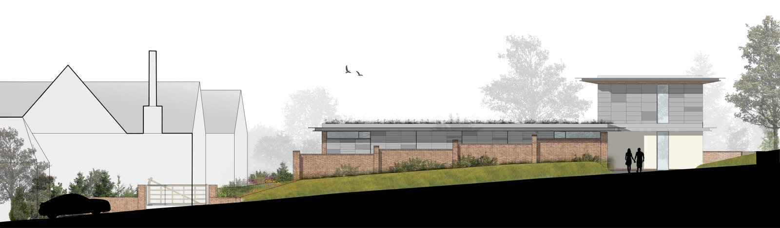 A cross-sectional drawing.    Photo 16 of 17 in A 17th-Century Conservation Area in England Greets a Modern Home