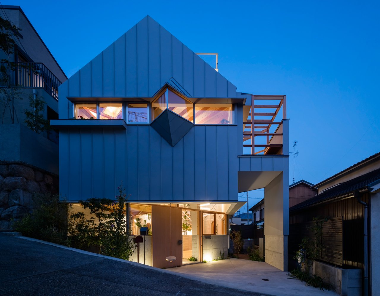 Exterior, House Building Type, and Gable RoofLine A house in Kobe by Fumiaso Architects & Associates  Photo 2 of 17 in This Whimsical Home in Japan Encourages Play and Exploration
