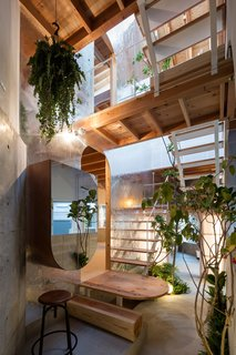 """This """"alley"""" veers then off at a right angle to become an indoor """"courtyard"""" lined with green plants near the back section of the house."""