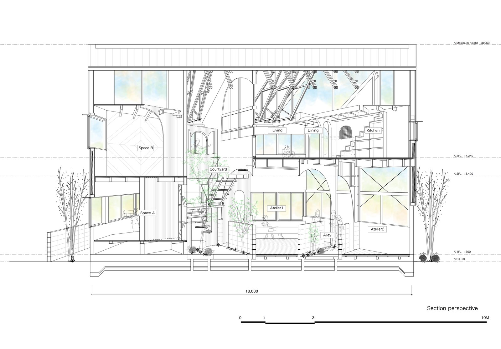 Sectional plan  Photo 17 of 17 in This Whimsical Home in Japan Encourages Play and Exploration