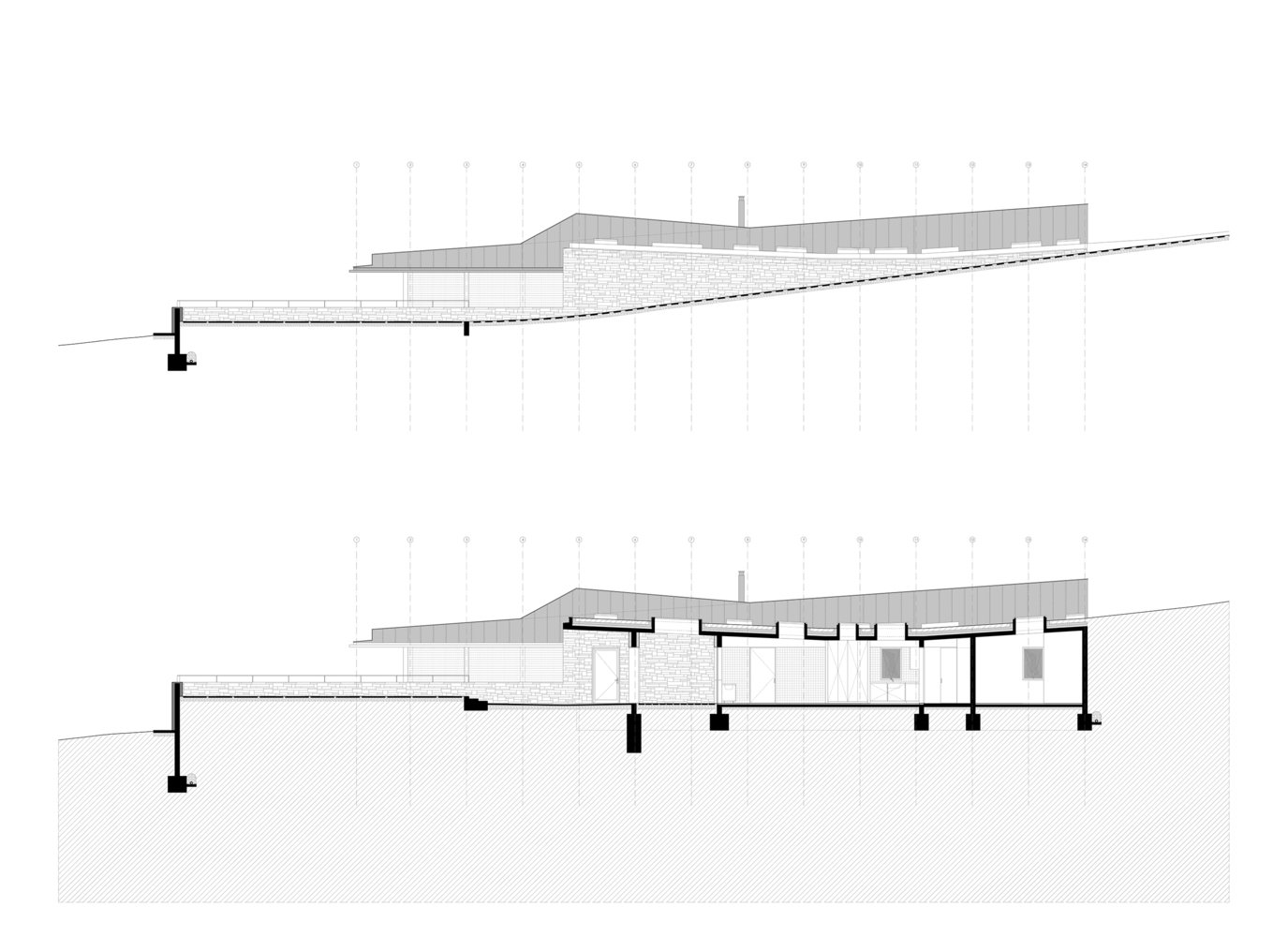 A sectional drawing.  Photo 13 of 14 in Two Eclectic Volumes Unite This  Contemporary Chilean Home