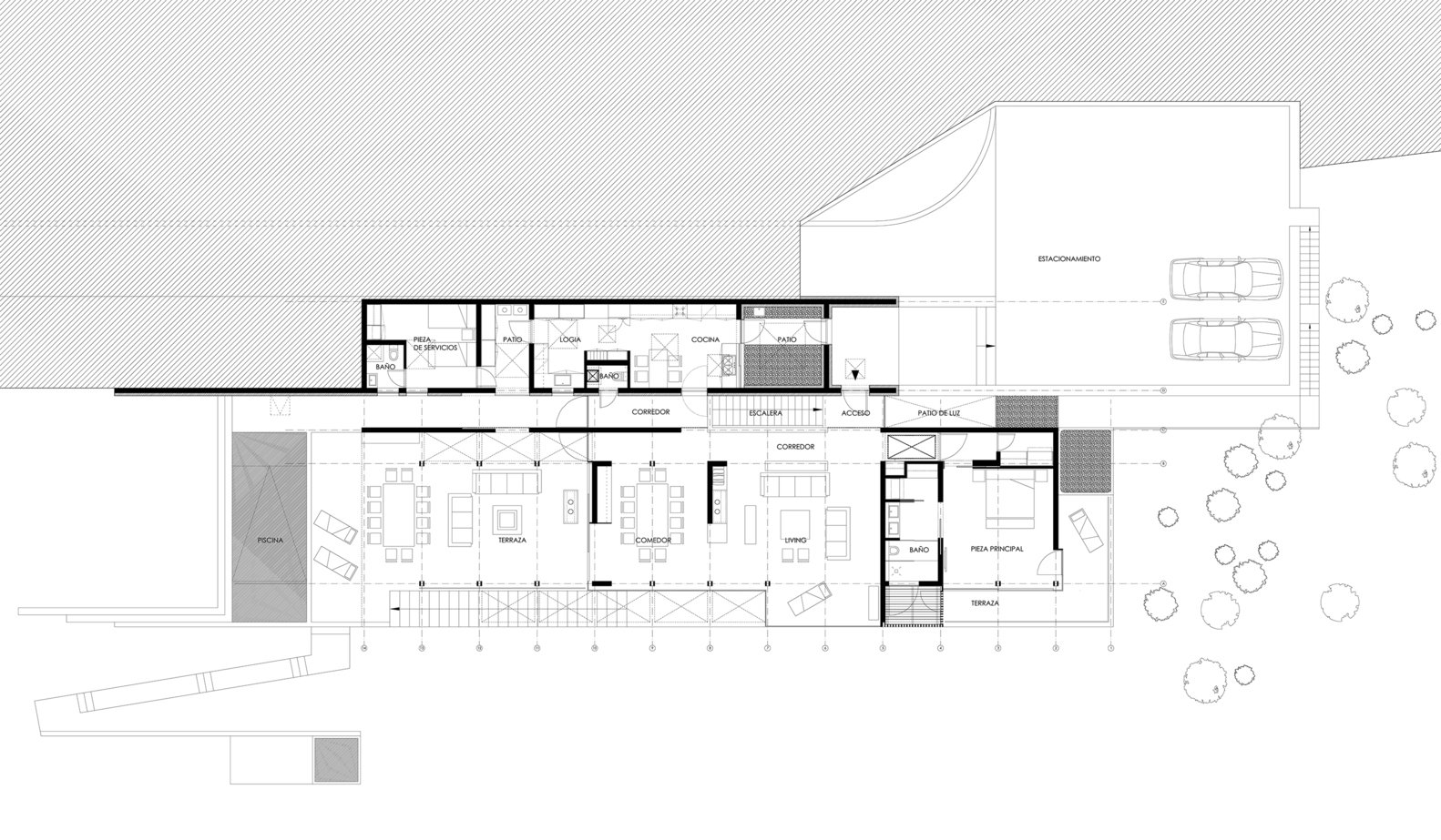 A floor-plan drawing.    Photo 14 of 14 in Two Eclectic Volumes Unite This  Contemporary Chilean Home