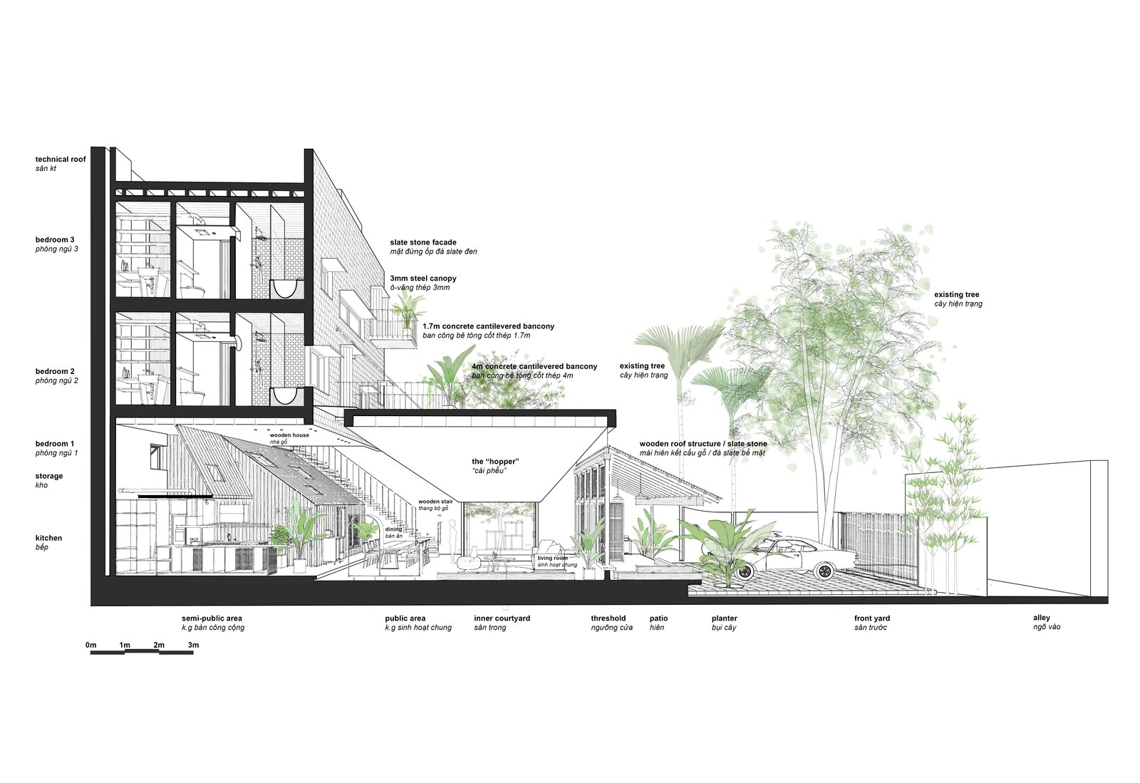 Sectional drawing  Photo 13 of 13 in A Vietnamese Abode Draws In Light With a Glass Atrium