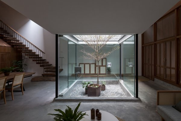 Passing through a patio and entranceway, one enters an open-plan living and dining area with ceilings that dip towards the four glass walls of the small interior garden.