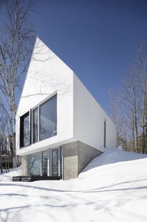 In winter, the extension looks as if it's covered in snow.