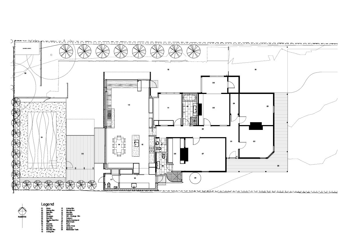 Floor plan drawing  Photo 17 of 17 in Wooden Screens Shade This Sustainable Melbourne Residence
