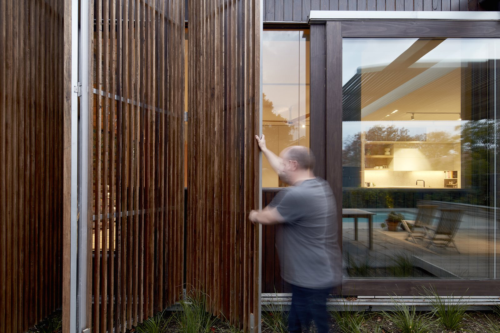 Windows, Wood, Sliding Window Type, and Picture Window Type The screens help control sunlight penetration and passive solar radiation.  Photo 15 of 17 in Wooden Screens Shade This Sustainable Melbourne Residence