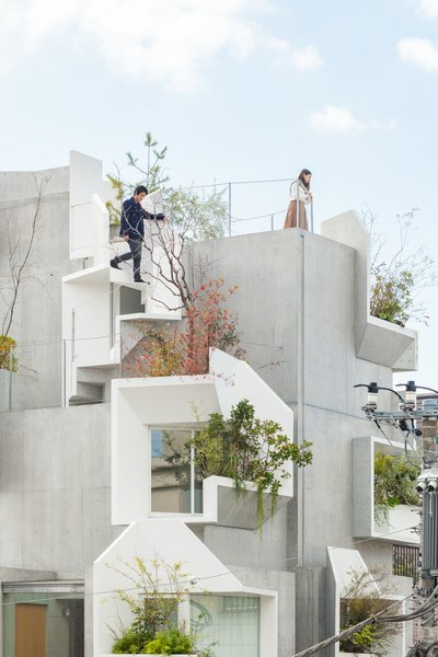 Outdoor, Shrubs, Side Yard, Small, Concrete, Rooftop, Gardens, and Planters Planters have been placed around the pleats to create pockets of sky gardens on the perimeter of the building, with some featuring steps that lead to other outdoor terraces.    Best Outdoor Gardens Photos from This Futuristic Japanese Building Is Not Your Everyday Tree House