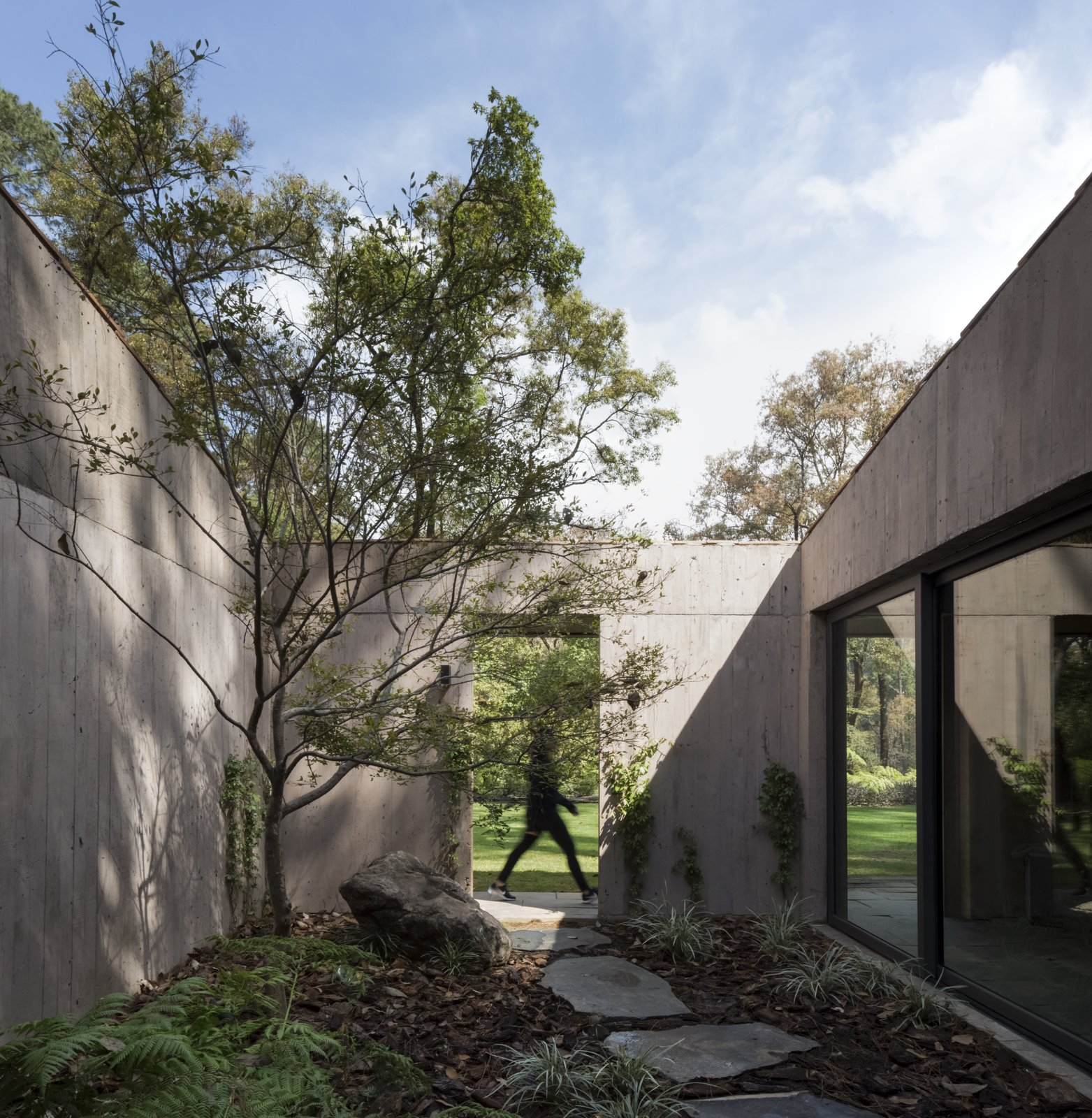Outdoor, Garden, Trees, and Shrubs Pockets of courtyard-like spaces have been inserted into the longest volume to preserve the existing trees and allow for more natural light to pour into the interiors.    Photos from A Modern Home Embraces Nature With a Unique L-Shaped Design
