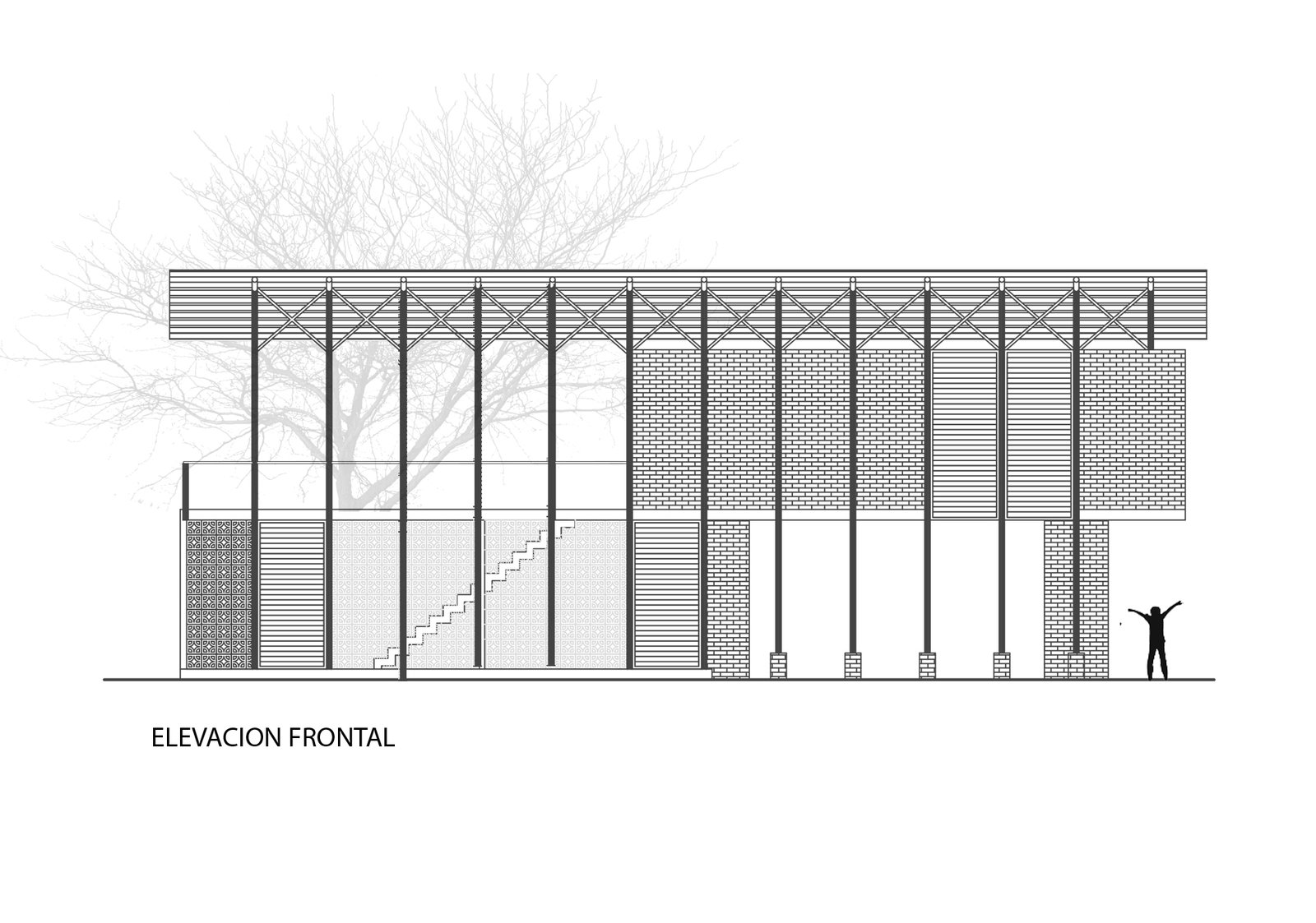 Front elevation drawing  Photo 15 of 16 in Beach Breezes Blow Right Through This Ecuadorian House on Stilts