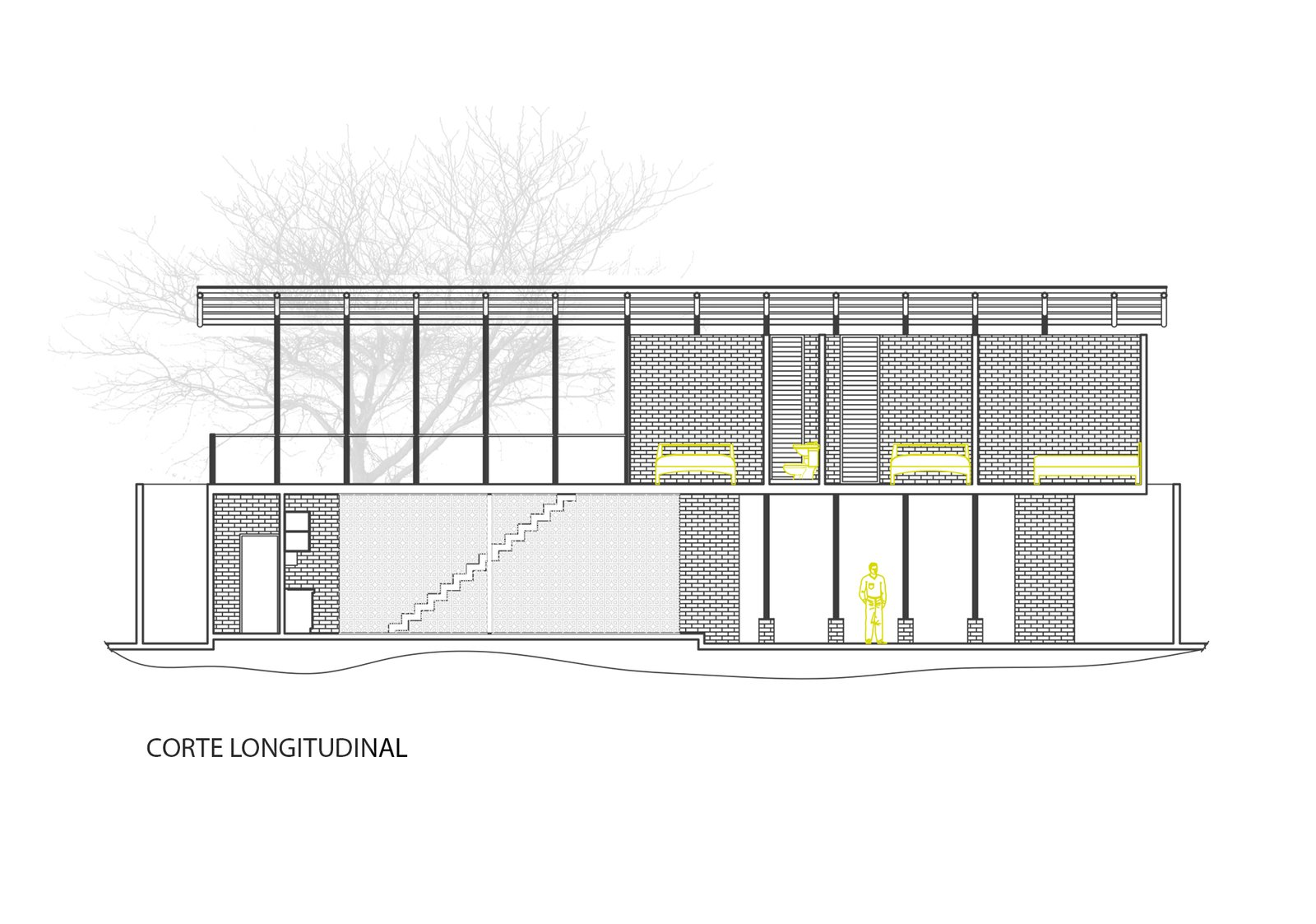 Longitudinal section drawing  Photo 16 of 16 in Beach Breezes Blow Right Through This Ecuadorian House on Stilts