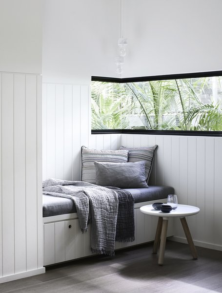 This reading nook offers a calm environment to rest and relax.