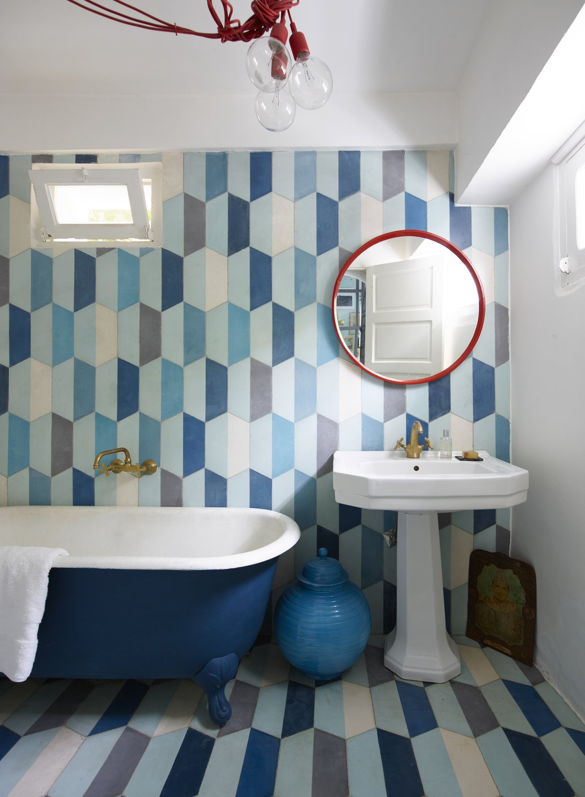 Bath, Pedestal, Freestanding, Pendant, Soaking, Ceramic Tile, and Ceramic Tile Marrakesh–headquartered Popham Design is all about bright, bold, and colorful tiles that can transform your floors, walls, and backsplashes into works of art.  Best Bath Soaking Pendant Freestanding Ceramic Tile Ceramic Tile Photos from 5 Artisan Tile Companies That Can Elevate Your Home