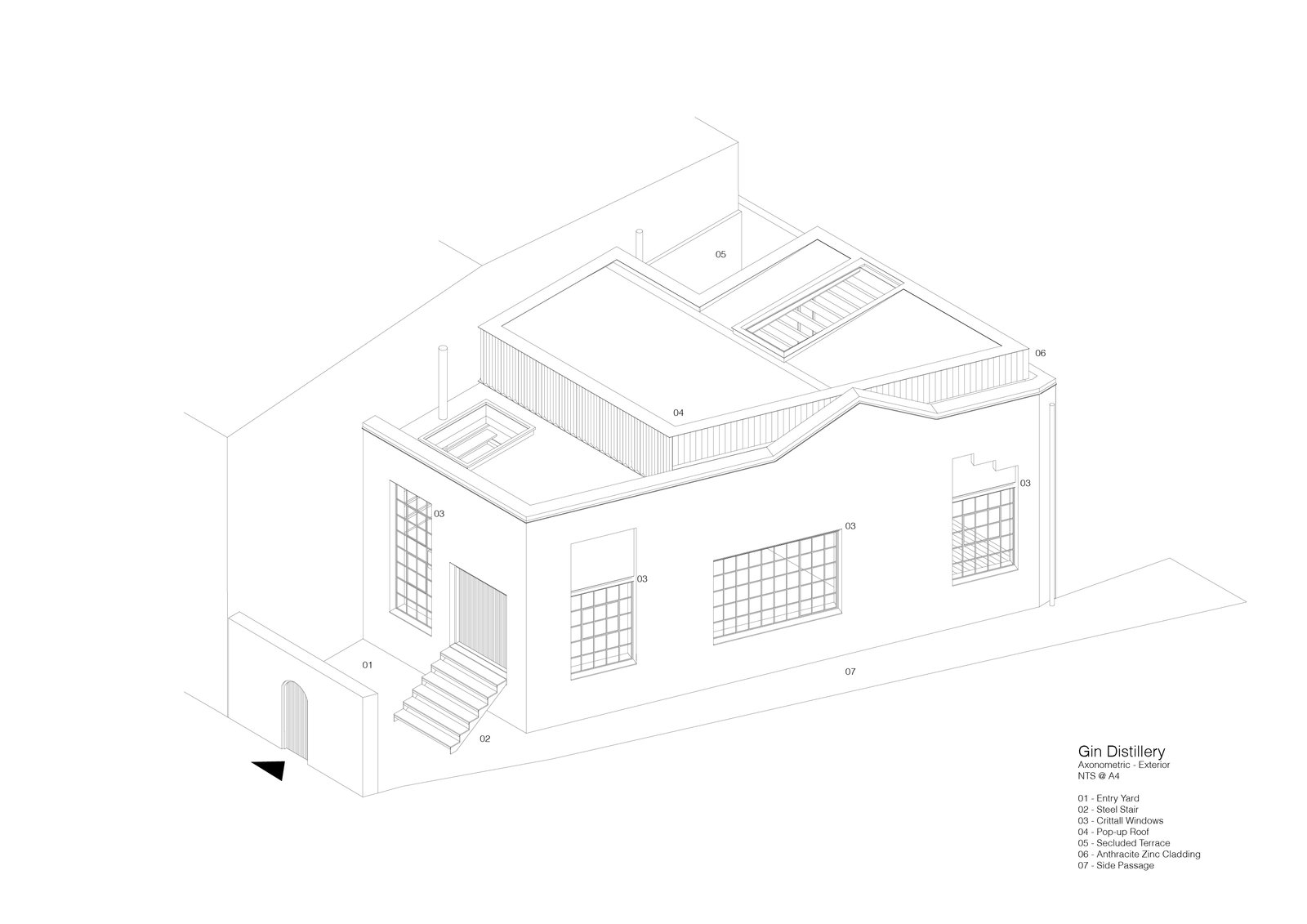 An exterior drawing.    Photo 14 of 16 in A Rickety Gin Distillery Is Reborn Into a Bright, Award-Winning Home
