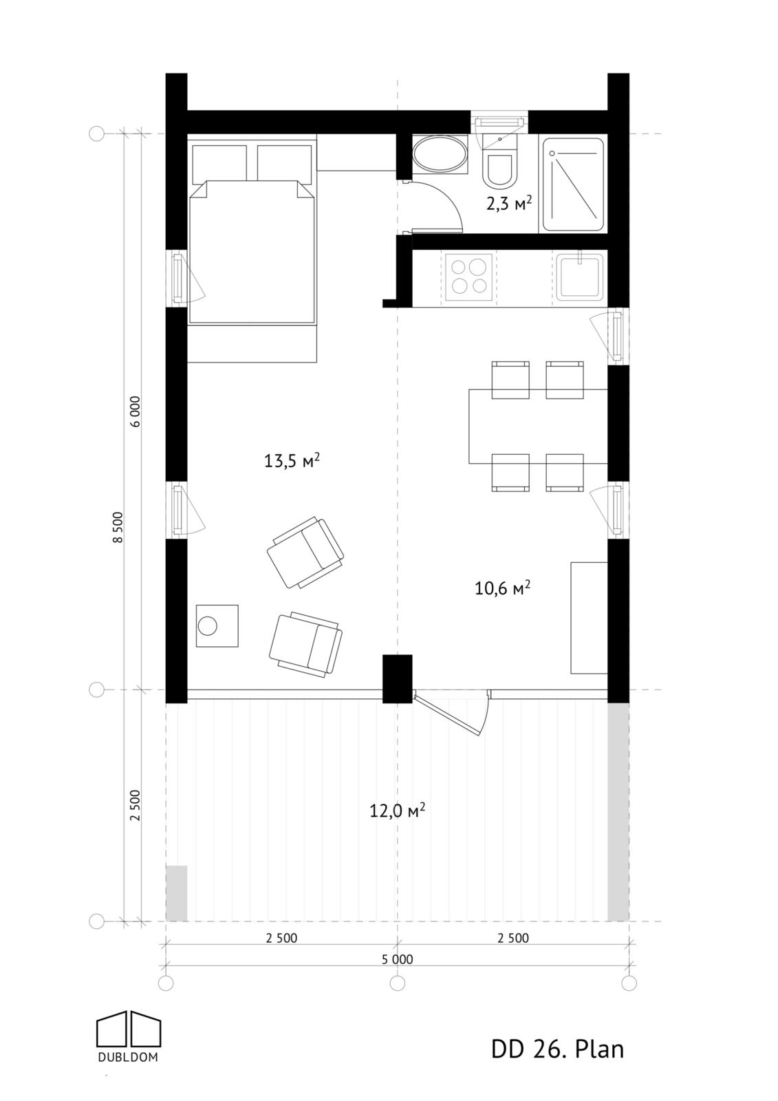 DublDom DD26 modular home floor plan