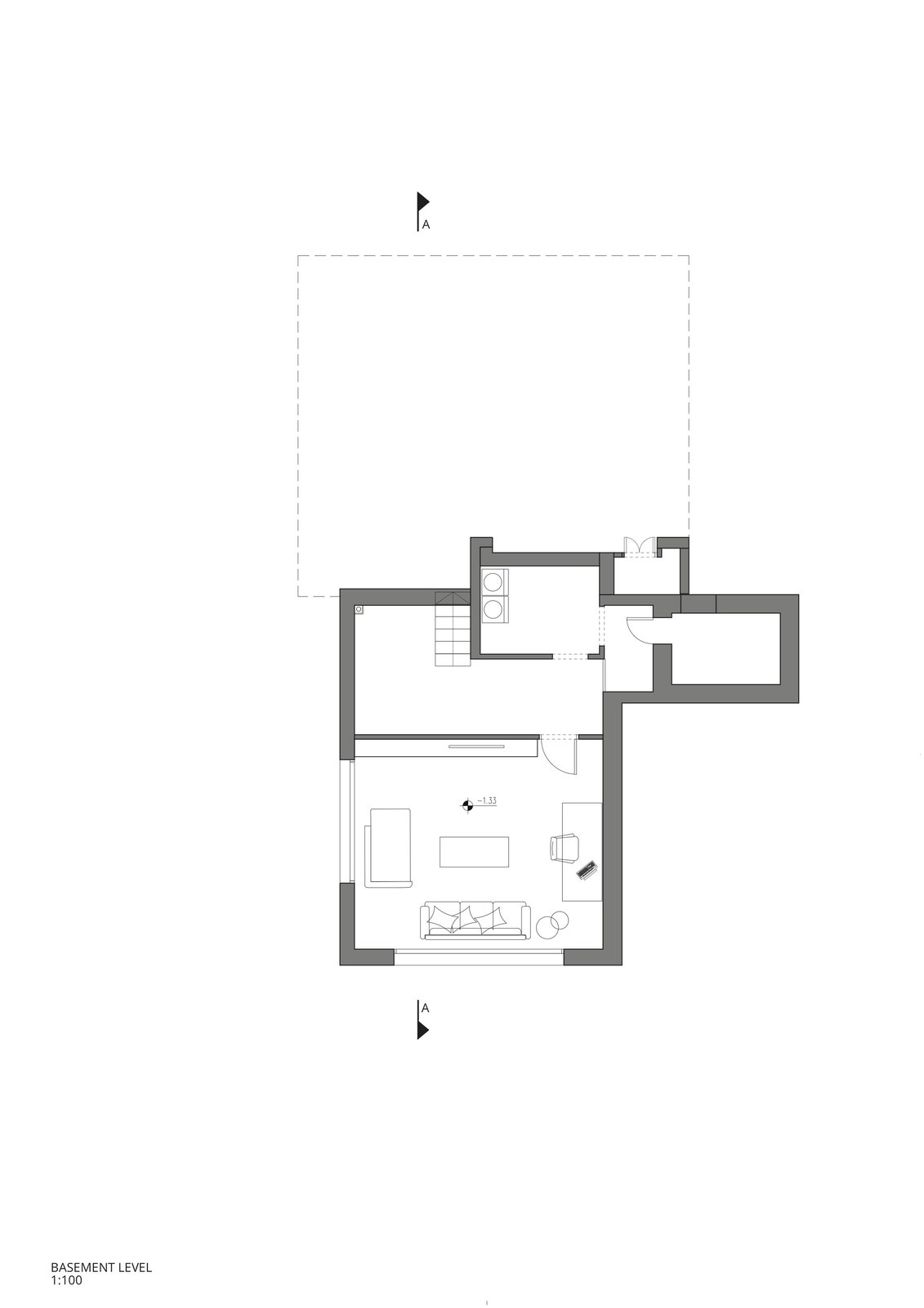 The basement floor plan.    Photo 16 of 19 in Sleek Concrete Cubes Form This Pavilion-Like Home in Israel