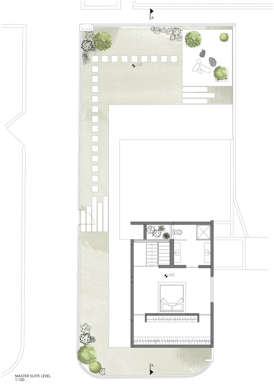 The floor plan of the master suite level.    Photo 18 of 19 in Sleek Concrete Cubes Form This Pavilion-Like Home in Israel