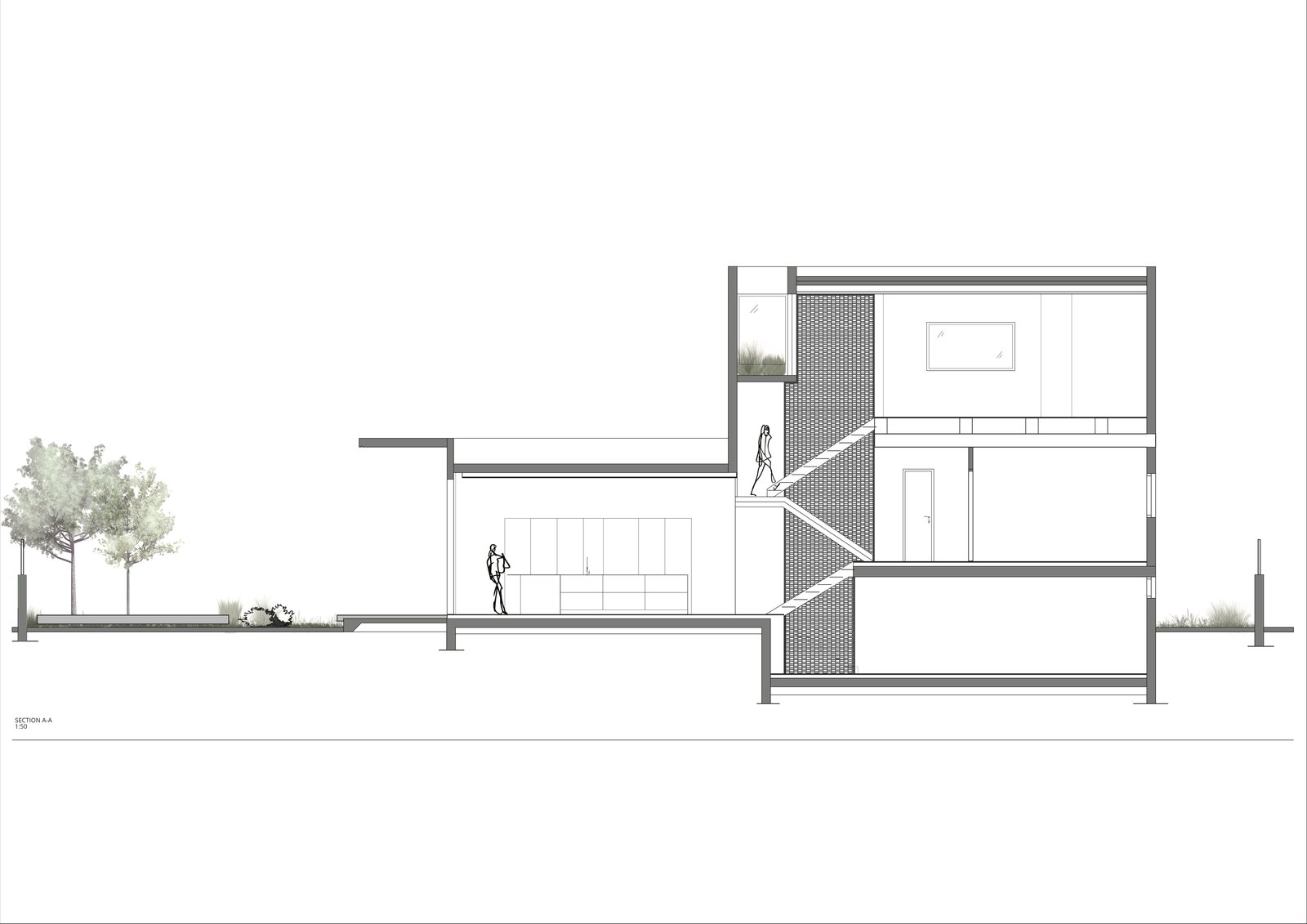 A sectional drawing.    Photo 19 of 19 in Sleek Concrete Cubes Form This Pavilion-Like Home in Israel