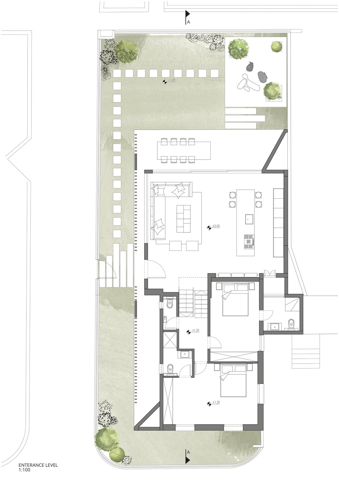 The floor plan of the entrance level.    Photo 17 of 19 in Sleek Concrete Cubes Form This Pavilion-Like Home in Israel